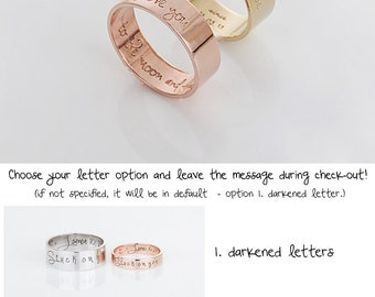 customized ring personalized jewelry love ring gold band ring pink gold ring - Customize Wedding Ring