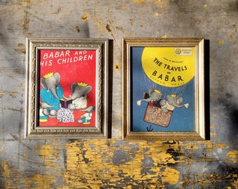 1961 Peace by Piece Reclaimed Children's Book Illustration Wall Art Set | The Travels of Babar | Babar and His Children 1961