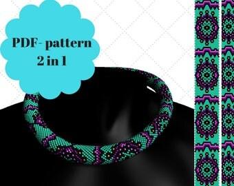 Bead crochet rope pattern Bead crochet necklace pattern Bead crochet pattern Pattern for a bracelet
