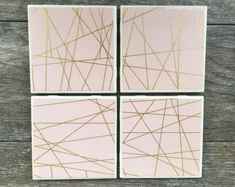 Pale Pink and Gold Geometric Coasters