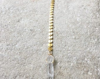 Gold and Quartz Lariat, Gold Y necklace, Gold circle lariat, Lariat, Y Necklace, Boho necklace
