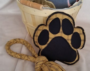 ON SALE!  Handmade Dog Toys - Tan Plaid Paw Shaped Squeaker and Braided Pull/Tug