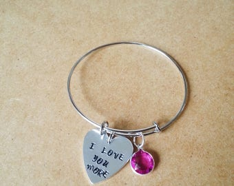 Stainless steel expandable bracelet, Personalized bracelet, Hand stamped custom bracelet with birthstone of your choice