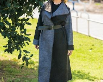 Elegant coat Wool cardigan Gray coat long Wool coat Spring coat Stylish coat Knee length coat