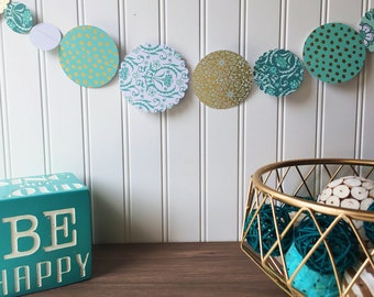 Aqua/gold paper banner, birthday banner, kids decor, office decor, craft room decor, photo backdrop, photo booth backdrop, home decor,banner