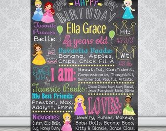Princess Birthday Poster, Birthday Stats, Chalkboard, Disney Princesses, digital printable
