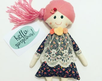 "Handmade Cloth Doll// One of a Kind Doll// Fabric doll// Heirloom doll// Rag Doll// Keepsake Doll// ""Rosie"""