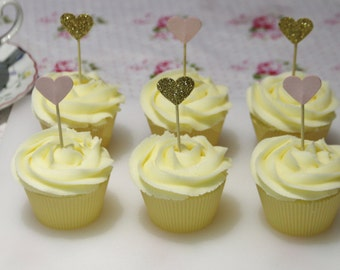 Pink and gold glitter card heart cupcake toppers