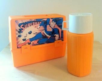 Vintage kids Superman Lunchbox Thermos DC Comics 1977 Orange Plastic