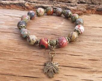 Beaded Bracelet Gemstone Bracelet Gipsy Bracelet Picture Jasper Bracelet Beaded Boho Bracelet Bohemian Bracelet Summer Bracelet