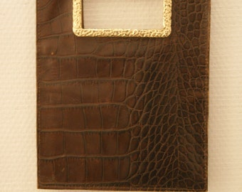 Sonia Rykiel vintage 90s handhell croco leather flat clutch