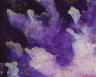 Square œuvre art abstract painting painting purple clouds modern decor