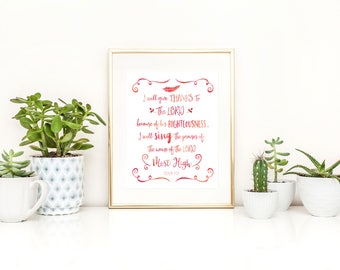 Psalm 7 Printable / Printable Psalm / I Will Give Thanks to the Lord / Sunday School Printable / Bible Verse Printable / Scripture Printable