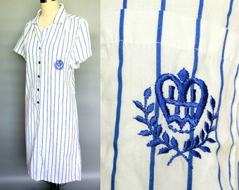 girl friday / blue and white striped button down shirt dress / 10 12 medium
