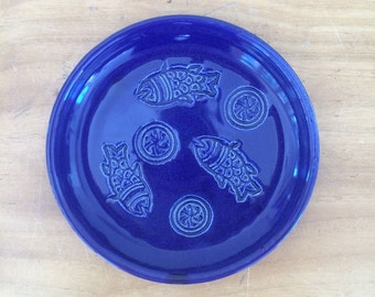Small Ceramic Plate, Spoon Rest, Jewelry Dish, Handmade Green Glazed Pottery Plate with Fish and Blossom Stamps. Ready to Ship.
