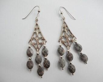 Chandelier Earrings, Sterling Earrings, Dangle Earrings, Brown Stone, Vintage Sterling Silver Brown Stone Chandelier Dangle Earrings #1069