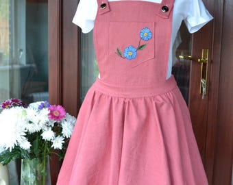 Pink Denim Pinafore Dress- Handmade with Hand Embroidered Flowers