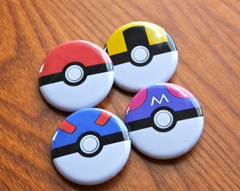 Poke Ball Buttons, Poke Ball Pins, 4 Button Set, Pokemon Buttons