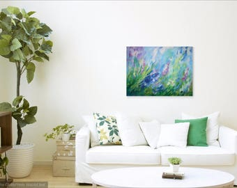 Abstract Landscape Painting, Blue Wall Art Canvas, Original Acrylic Flower Painting, Modern Art, Impressionist Painting, Contemporary Art