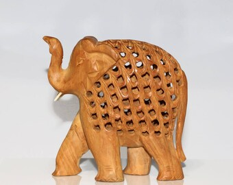 Vintage Carved Wood Elephant with Nesting Baby