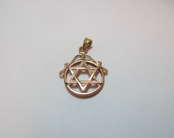 Vintage 14K Gold Jewish Star of David Pendant