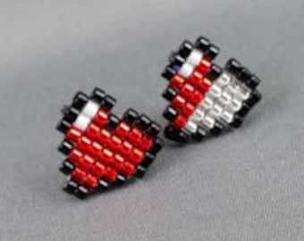Heart Container Earrings - Legend of Zelda Earrings Geek Earrings Nerdy Jewelry Video Game Jewelry Pixel Earrings Heart Earrings Pixel Studs