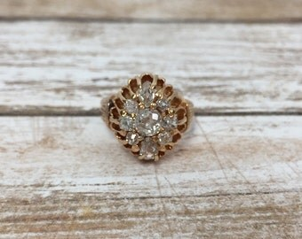 Antique Victorian 18K Rose Gold & Old Cut Diamond Cluster Ring
