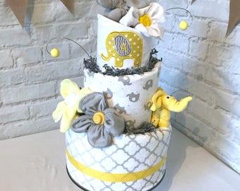 Elephant diaper cake, Yellow Elephant Diaper Cake, Yellow and Gray baby shower, Yellow and Gray Diaper Cake, Elephant baby shower, Elephant