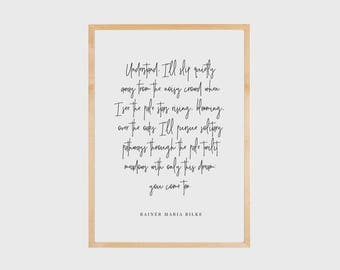 Love Poem, Rainer Maria Rilke, Literary Quote, Book Art, Literary Print, Love Quote, Typography Wall Art, Literary Print, Printable