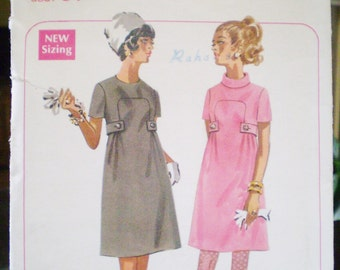 Butterick 4872 1960s Mod A-line Dress Pattern Size 12 Bust 34 - retro, Jackie Kennedy, empire waist,Mad Men inspired, jewel neckline,vintage