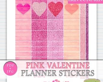 Valentines Printable Stickers, Erin Condren Love Planner Stickers, February Digital Stickers Erin Condren Vertical, Pink Functional Planner