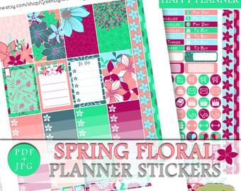 Floral Happy Planner Printable Sticker Kit, Spring Floral Printable Planner Sticker, March Floral Weekly Kit Printable Mambi Planner Sticker