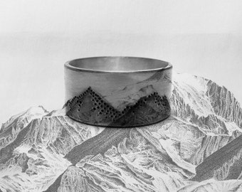 Ring Silver 925, silver ring mountain mountain, unique jewelry, handmade