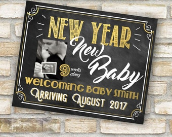 Chalkboard New year baby announcement with our without ultrasound picture photo printable