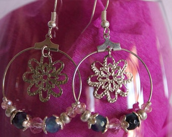 Hoop earrings with pink crystals and gemstone blue