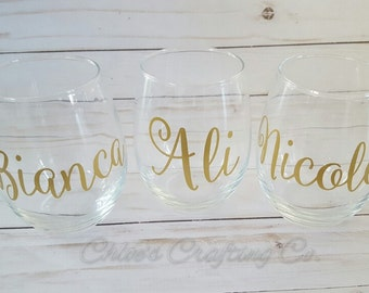 Custom Name Wine Glass/Stemless/Stemmed