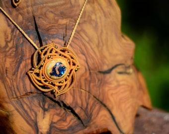 macramé - necklace - micro macrame - Mexican Opal