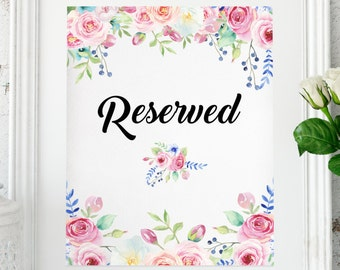 INSTANT, Reserved Wedding Sign Reception printable Wedding decor Wedding printable Wedding reception decor Wedding print #w1
