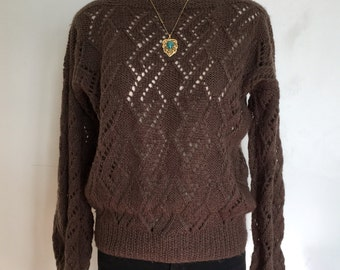 Vintage Hand-Knitted Boatneck Wool Blend Sweater Size Small