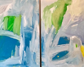 Original Abstract Art diptych, modern art, home decor