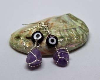 Evil Eye Amethyst Drop Earrings