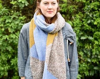 Cosy Geometric Scarf - Yellow/Blue/Brown Marle