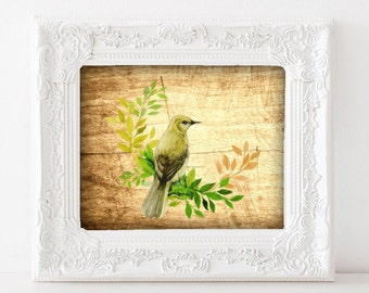 Wood Bird Illustration - Green Bird Painting, Rustic Bird Art, 3D Bird Art, Yellow/Green Bird Art Print, Download Bird Art, Instant file