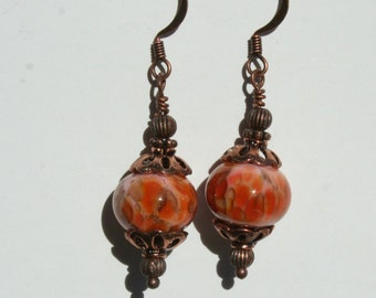 Fall lampwork bead and copper earrings