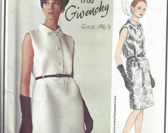 1967 Vintage VOGUE Sewing Pattern B34 DRESS (1788) By Givenchy