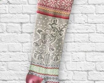 Santa Sock,Holiday,Knit Christmas Stocking,Present,Reindeer, Snowflakes,Сhristmas ornaments, Gift for Christmas,Long Christmas Sock