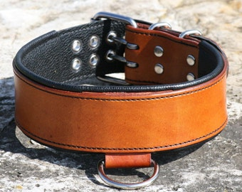 Leather Dog Collar - Handcrafted Leather Dog Collar-2 inch wide- 100% Real Leather -Many Options Available-Quality Dog Collars