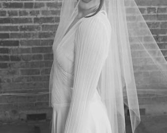 Monroe Veil | Modern Shimmer White Tulle Veil with Blusher | Customizable Fingertip Veil with Handkerchief Point & Rhinestone Comb