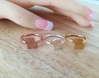 Tiny Elephant Ring, Gold Elephant Ring, Silver Elephant, Animal Ring, Lucky Elephant Ring, Elephant Jewelry Friendship Ring, BFF Ring