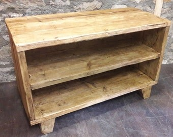 Handmade rustic wooden tv stand media console unit